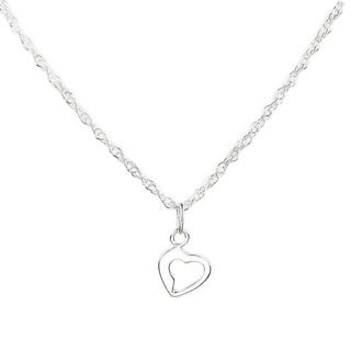 Jewelry by Dawn Sterling Silver Small Open Heart Drop Rope Chain Necklace