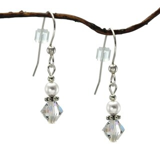 Handmade Jewelry by Dawn Small White Pearl And Crystal Bicone Sterling Silver Earrings Earrings (USA)