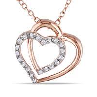 Miadora Rose Silver 1/10ct TDW Diamond Heart Necklace