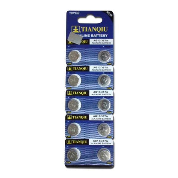 Tianqiu AG12/357A Alkaline Button Cell Watch Battery (Pack of 10)