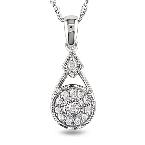 Miadora Sterling Silver 1/10ct TDW Diamond Necklace (H-I, I2-I3)