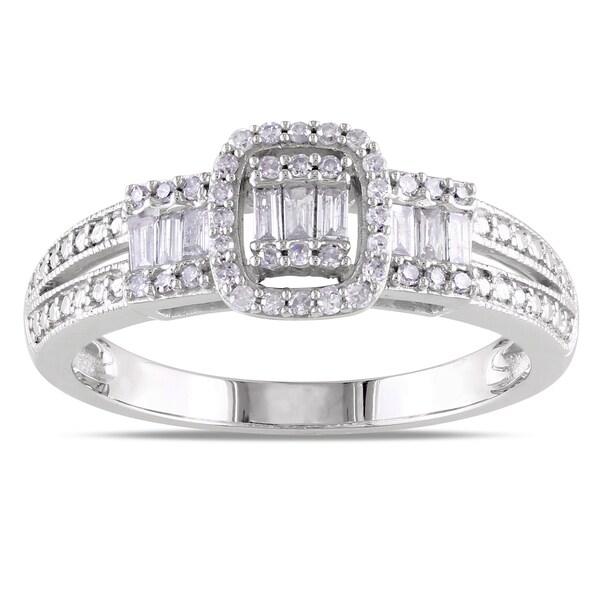 Miadora 10k White Gold 1/3ct TDW Mixed Cut Diamond Ring (G-H, I1-I2)