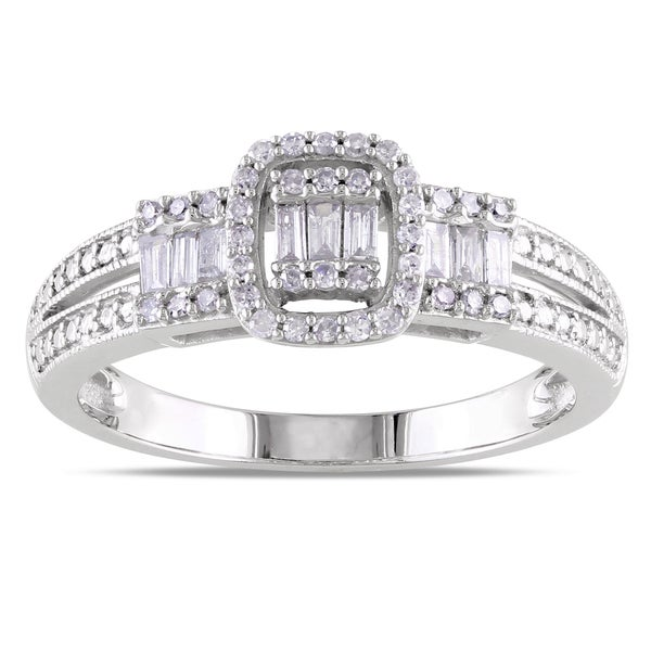 Miadora 10k White Gold 1/3ct TDW Mixed Cut Diamond Ring