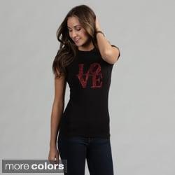 Women's Rhinestone Embellished 'LOVE' Tee Shirt