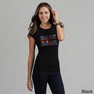 Women's Rhinestone Embellished British Flag Tee Shirt