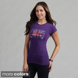 Women's Rhinestone Embellished British Flag Tee Shirt