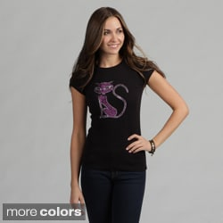 Women's Rhinestone Embellished 'Jewel Cat' Tee Shirt