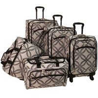 89f190461 American Flyer Clover Metallic 5-piece Black/Grey Expandable Spinner  Luggage Set