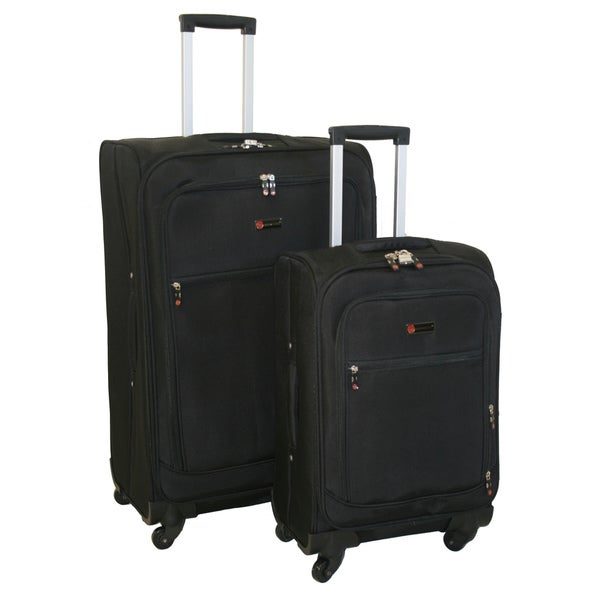 American Flyer Austin Quattro 2-piece Black Spinner Luggage Set