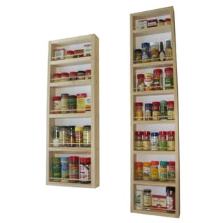 Solid Pine Wood 78-inch On-the-wall 2-piece Spice Rack