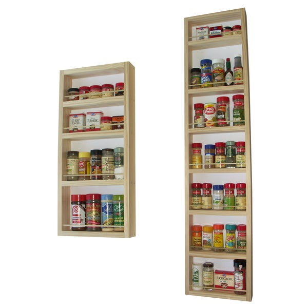 Solid Pine Wood 72-inch On-the-wall 2-piece Spice Rack
