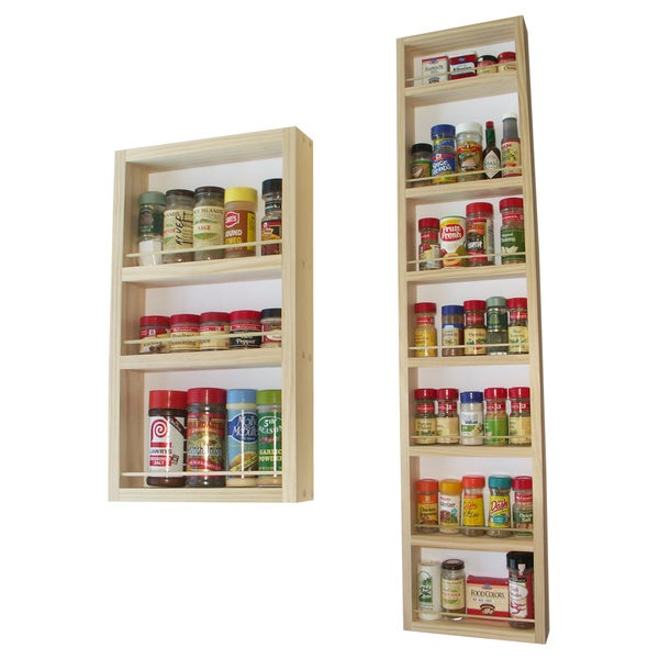 Solid Pine Wood 66-inch On-the-wall 2-piece Spice Rack