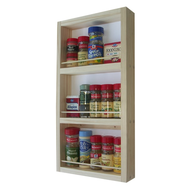 Solid Pine Wood 19-inch On-the-wall Spice Rack