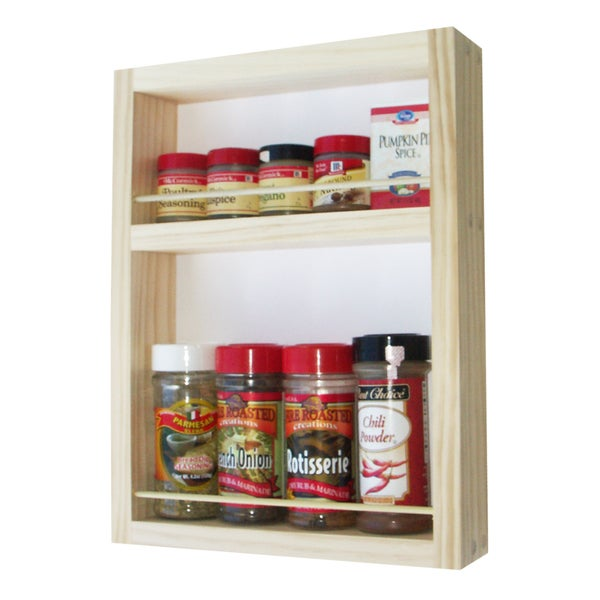 Solid Pine Wood 14-inch On-the-wall Spice Rack