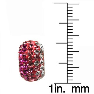 De Buman Sterling Silver Pink Crystal Charm Bead