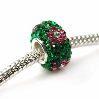 De Buman Sterling Silver Green Crystal Charm Bead