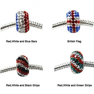 De Buman Sterling Silver Multicolor Crystal Charm Bead