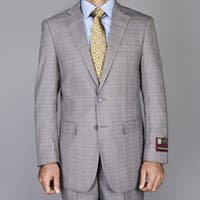 Men's Taupe Windowpane 2-button Suit