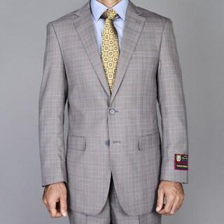 Men's Taupe Windowpane 2-button Suit