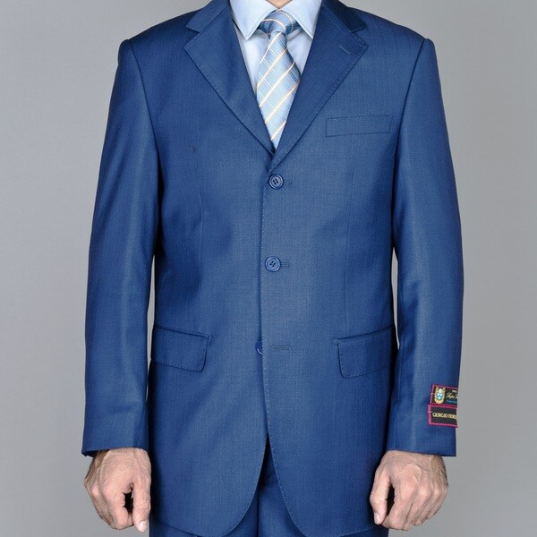 Men's Petroleum Blue 3-button Suit