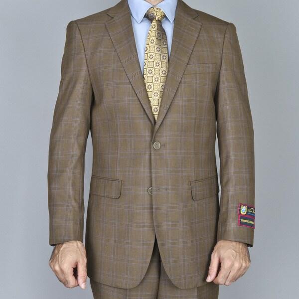 Men's Brown Windowpane 2-Button Suit