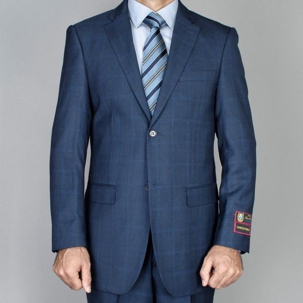 Men's Cobalt Blue Windowpane 2-button Suit