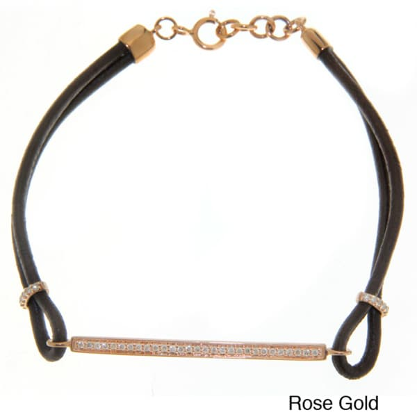 Victoria Kay 14k Gold 1/5ct TDW White Diamond Leather Bracelet
