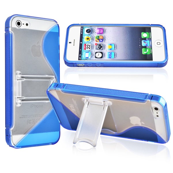 INSTEN Blue S Shape TPU Phone Case Cover for Apple iPhone 5 / 5S / SE