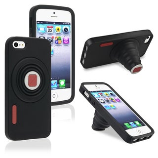 INSTEN Black Camera Soft Silicone Skin Phone Case Cover for Apple iPhone 5