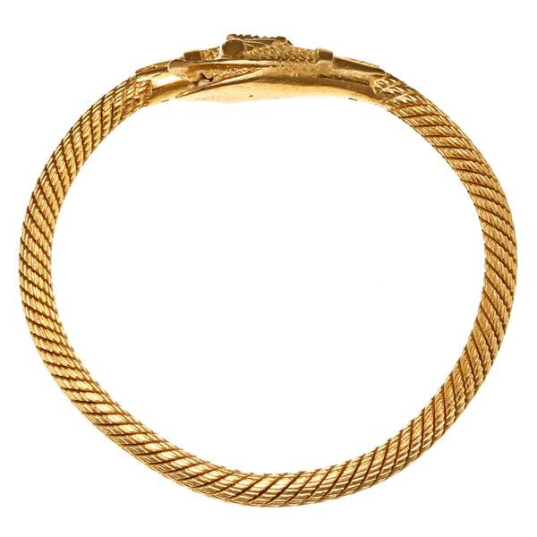 24k Pure Gold Snake Bangle Bracelet