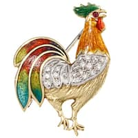 Pre-owned 18k Gold 1/5ct TDW Diamond Enameled Rooster Estate Brooch (G-H, SI1-SI2)