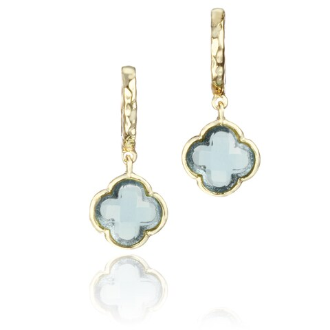 Little Miss Twin Stars Goldplated Colored Glass Clover Hammered Hoop Earrings