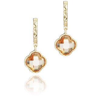 Little Miss Twin Stars Goldplated Colored Glass Clover Hammered Hoop Earrings (3 options available)