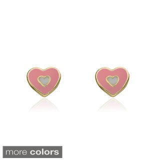 Little Miss Twin Stars Gold-Plated Children's Enamel Heart Stud Earrings