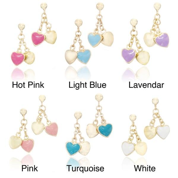 Little Miss Twin Stars 14k Goldplated Brass Children's Enamel Heart Dangle Earrings