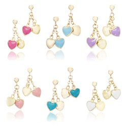 Little Miss Twin Stars 14k Gold-plated Children's Enamel Heart Dangle Earrings