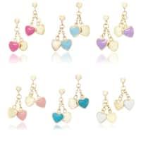 Little Miss Twin Stars Goldplated Brass Children'S Enamel Heart Dangle Earrings