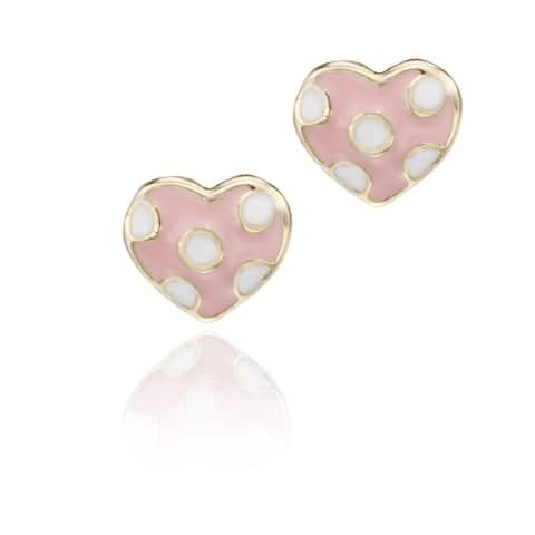 Little Miss Twin Stars Gold-plated Children's Enamel Polka Dot Heart Stud Earrings