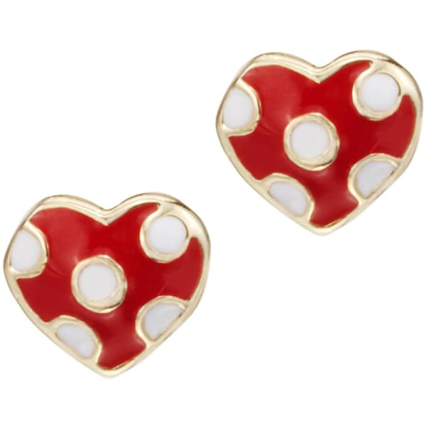 Little Miss Twin Stars I LOVE My Jewels 14k Gold-Plated Red Stud Earring