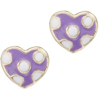 Little Miss Twin Stars 14k Gold-plated Children's Enamel Polka Dot Heart Stud Earrings