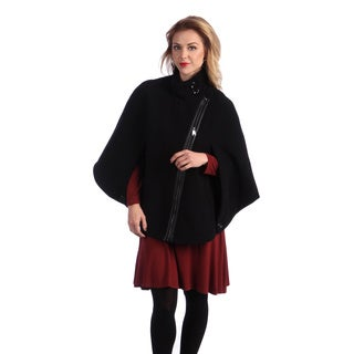 Via Spiga Women's Black Asymmetrical Zip-front Cape
