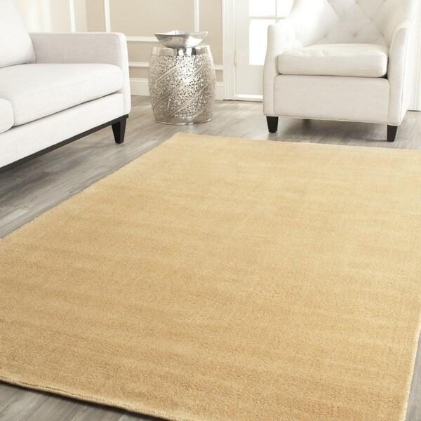 Safavieh Handmade Himalaya Solid Beige Wool Rug