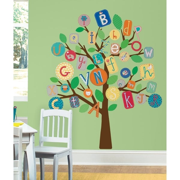 Abc primary tree peel stick giant wall decals free for Overstock free returns