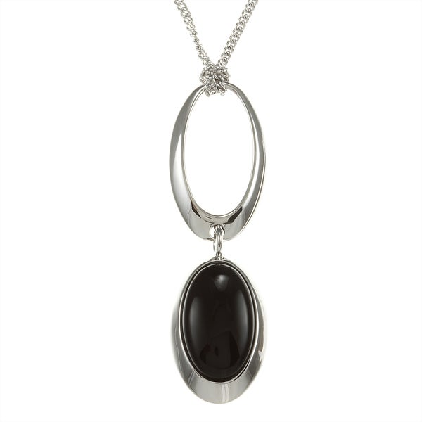 ELLE Jewelry Sterling Silver Black Agate Fashion Necklace