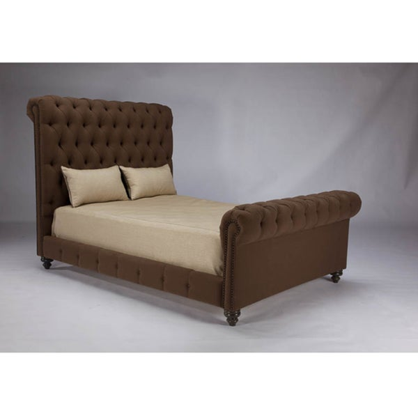 JAR Design 'Alphonse Tufted' Chocolate Bed with Footboard