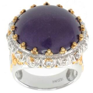 Michael Valitutti Two-tone Purple Jade and White Sapphire Ring
