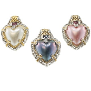 Michael Valitutti Two-tone Mabe Pearl and Sapphire or Ruby Earrings