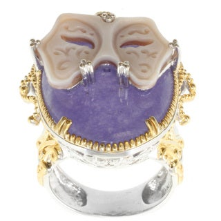 Michael Valitutti Two-tone Purple Jade and Carved Mask Cameo Ring
