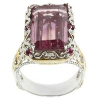 Michael Valitutti Two-tone Kunzite Quartz and Pink Sapphire Ring