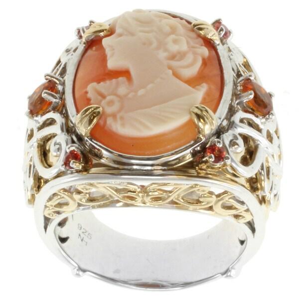 Michael Valitutti Two-tone Cameo, Madeira Citrine and Orange Sapphire Ring